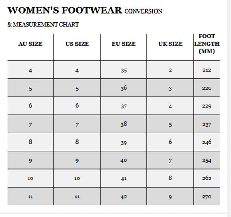 Women's size charts